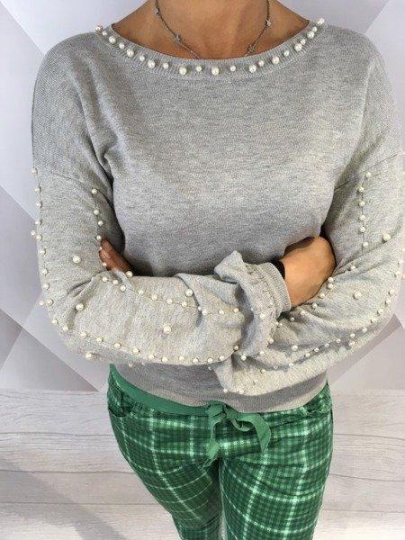 Sweter z perłami i dekoltem na plecach M/L