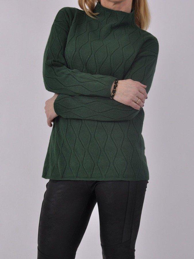 Sweter zielony stójka wytłaczany wzór