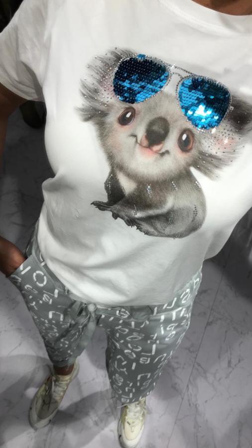 Urocza bluzka z misiem koala w okularach M/L