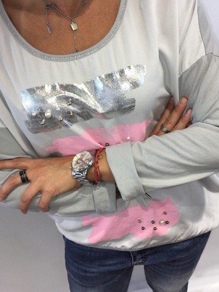 Włoska damska bluzka pasy perły szara