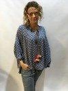 Bluzka w grochy niebieska