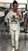 Stylowa biała bluzka z czarnym misiem